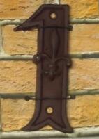 Gußeisen Hausnummer Nummer 1 Nostalgie Zahl Ziffer Lilie Landhaus ca. 8*11cm