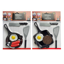 PLAY KITCHEN ACCESSORY SET SAUSAGE EGGS STEAK GRILL COOKING FUN NEW 3+