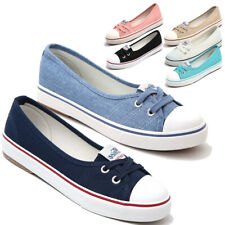 Womens Ladies Canvas Shoes Pumps Slip On Summer Size Flat Lace Up Loafers 35-40