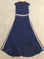 AUTH TED BAKER DAMSIA dip hem pleated midi dress Navy 0-5