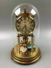 Kundo Brass Anniversary Clock Germany Glass Dome
