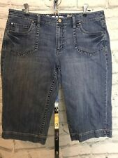 White House Black Market Blanc Denim Bermuda Shorts Size 14 WHBM Crop Leg
