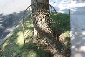 Vintage Victorian Hollywood Regency Metal Fence Wall Art #1 Flowers Scrolls Gold