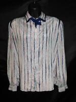Vintage 80s Lorelei L Blue Red Striped Dot Secretary Blouse Button Collar Shirt