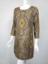 J CREW COLLECTION Jules Taupe Mint Brown Print Silk Pocket Shift Dress sz 2