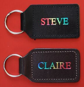 Personalised Leather Keyring, Keyfob, Your Name in Rainbow Colour, 2 Sided.