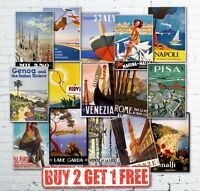 A3 Vintage Retro Italian Italy Travel Posters Prints Garda Amalfi Venice Rome