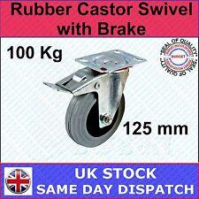 FIXMAN Rubber Castor Swivel with Brake 125mm 100kg Ironmongery Castors-663584