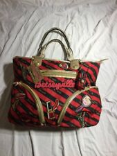 BESTEY JOHNSON Betseyville XL Large Red & Black Striped Tote Bag w/ Appliques