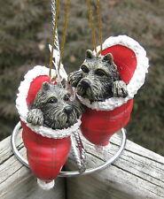 Pair of Scottie Dog Ornaments inside Santa's Hat