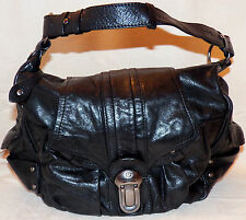 Francesco Biasia Italy Hot Stuff Hobo Genuine Black Leather Satchel Bag Purse