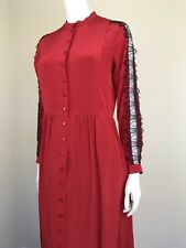 The Kooples Small Red Lace Floor Length Silk Dress With Black Lace Button Front