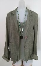 Mojito Green Linen Jacket Blazer Top Size M Long Sleeve Bohemian Made In Italy