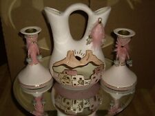 VINTAGE  PITCHER AND CANDLE HOLDERS PINK IN COLOR LOT BEAUTIFUL