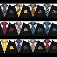 USA Classic Extra long Mens Tie Necktie Hanky Silk Jacquard Gold Blue Yellow