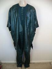 Men's Green Handmade African Traditional Brocade Kaftan. One Size. Short Sleeve