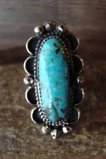 Navajo Indian Jewelry Nickel Silver Turquoise Ring Size 11- J. Cleveland