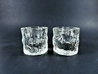 Beacon Hill Clear Glass Taper Candleholders Textured Ice-Like Short Pair 2X2 In