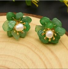 Green Jade Pearl Flower Stud Earrings 925 14k Gold Sterling Silver Ship Same Day
