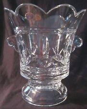 Bohemia Lead Crystal Urn Handled Footed Vase - 9 in. - Vtg Czech - Blue Sticker