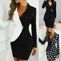 Womens Party Bodycon Dress Formal Blazer Office Coat Work Top Long Sleeve