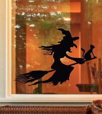 Halloween Spooky Sorcière manche à balai Chat Fenêtre Porte Autocollant decals Trick or Treat