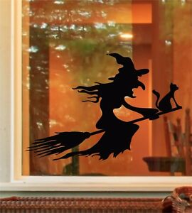 Halloween Spooky Witch Broom Stick Cat Window Door Sticker Decals Trick or Treat