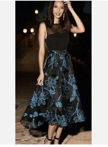 kaleidoscope One Black Blue Party Dress Size 16 Was £119 New