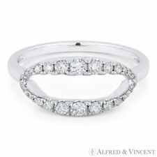 Statement Ring in 14k White Gold 0.13 ct Round Diamond Open-Oval Band Right-Hand