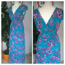 Vintage 70s Style Blue & Pink Floral Goddess Maxi Bhs  Dress Size 10