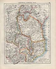 1909 VICTORIAN MAP ~ CENTRAL AFRICA EAST ~ GERMAN BELGIAN CONGO RHODESIA
