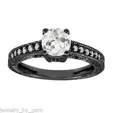1.00 CARAT WHITE TOPAZ AND DIAMOND ENGAGEMENT RING 14K BLACK GOLD VINTAGE STYLE