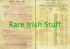 1912 Schedule For Titanic & The Olympic - The Worlds Largest Ships - Irish Print