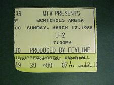 1985 U2 TICKET STUB -The Unforgettable Fire Tour- Denver, CO 3-17-1985
