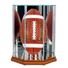 New F/S Glass Upright Football Display Case UV NFL Walnut Molding FREE SHIPPING