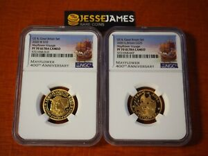 2020 W $10 & £25 PROOF GOLD MAYFLOWER VOYAGE NGC PF70 ULTRA CAMEO 2 COIN SET