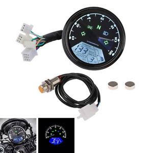 LCD Digital Speedometer Odometer Tachometer Gauge Fit for Cafe Racer Motorcycle