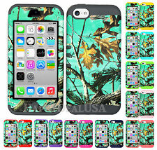 For Apple iPhone 5c KoolKase Hybrid Armor Silicone Cover Case - CAMO MOSSY GREEN