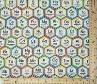 Fabric FQ Fat Quarter 100% Cotton Quilt Mask Science Periodic Chemistry Novelty