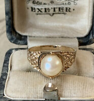 Georg Jensen Ring (1975) Vintage 9ct yellow gold with Cultured Pearl UK M