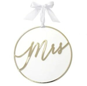 """Pack of 2 """"Mrs"""" Gold Metal Wire Wedding Chair Signs Style-Me-Pretty Brand"""