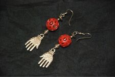 """Unique Pair of """"Hand"""" Earrings - Hand Carved Beads -Silver Toned Decorated Hands"""