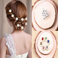 Chic Crystal Spiral 12x Hair Clip Mesh Flower Hairpin Bridal Party Hair Jewelry