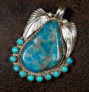 BLUE KINGMAN TURQUOISE Navajo Sterling Silver Pendant SIGNED Hoskie Yazzie
