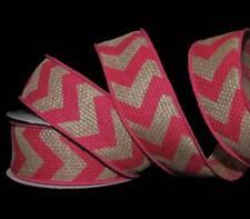 """10 Yards Pink Chevron Stripe Zig Zag Burlap Wired Ribbon 1 1/2""""W"""