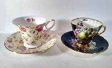 2 Vintage English Teacup & Saucer Lot Royal Patrician & Windsor Fine Bone China
