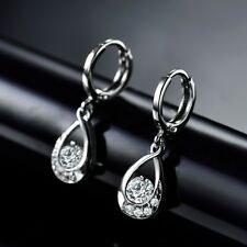 White Gold Filled Hot Fashion Dangle Sapphire Crystal Awesome Earring Jewelry