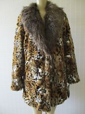 $199 ADRIENNE LANDAU ANIMAL PRINT FAUX COAT WITH FAUX FUR COLLAR SIZE M - NWT