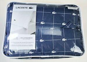 Lacoste Twin XL Sheet Set Indigo Blue Logo 100% Cotton Percale