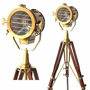 Nautical Searchlight Spotlight Antique Vintage Style Wooden Tripod Floor Lamp